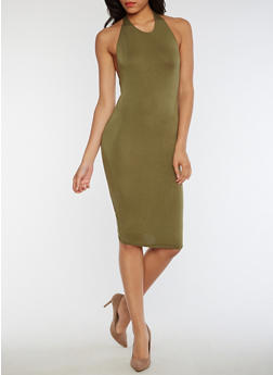 Halter Bodycon Open Back Dress - OLIVE - 3410066491985