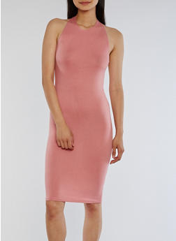 Halter Bodycon Open Back Dress - ROSE - 3410066491985