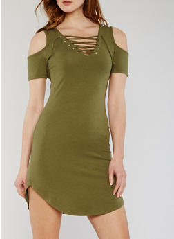 Cold Shoulder Lace Up T Shirt Dress - OLIVE - 3410066491995