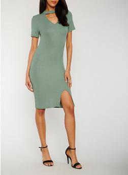 Rib Knit Choker Dress with Front Slit - 3410066493010