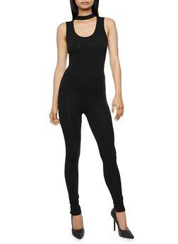 Solid Choker Neck Jumpsuit - BLACK - 3410066493046