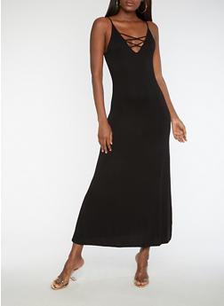 Caged V Neck Maxi Dress - 3410066493092