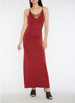 Caged V Neck Maxi Dress - 3410066493092