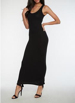 Rib Knit Maxi Tank Dress - BLACK - 3410066495931