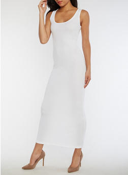 Rib Knit Maxi Tank Dress - WHITE - 3410066495931