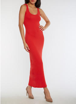 Rib Knit Maxi Tank Dress - RED - 3410066495931