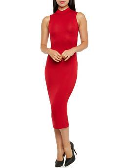 Sleeveless Mock Neck Midi Dress - 3410066496020