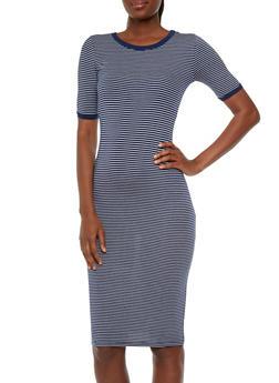 Striped Bodycon Ringer T-Shirt Dress - 3410066496331