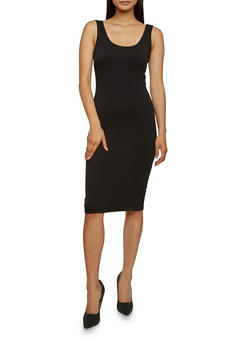 Sleeveless Bodycon Dress - BLACK - 3410066496466