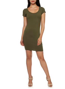 Bodycon Mini Dress with Short Sleeves - 3410066497140