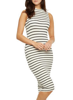Sleeveless Striped Midi Dress - 3410066497912