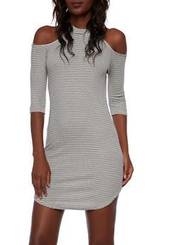 Cold Shoulder Mini Dress in Striped Rib Knit - 3410066498236