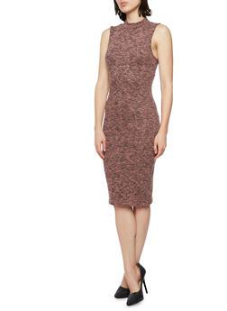 Sleeveless Bodycon Dress with Mock Neck - 3410066498329