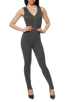 Hooded Sleeveless Zip Catsuit - CHARCOAL - 3410066498508