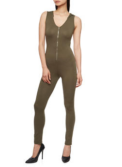 Hooded Sleeveless Zip Catsuit - OLIVE - 3410066498508