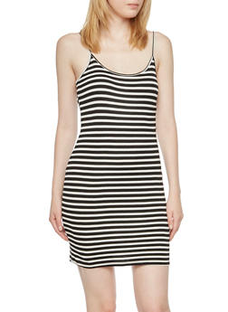 Striped Bodycon Dress with Adjustable Shoulder Straps - 3410066498984