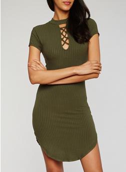 Short Sleeve Lace Up Rib Knit Dress - OLIVE - 3410066499545
