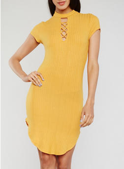 Short Sleeve Lace Up Rib Knit Dress - GOLD - 3410066499545