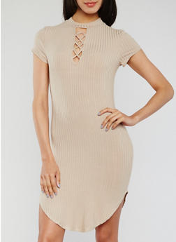 Short Sleeve Lace Up Rib Knit Dress - TOWN TAUPE - 3410066499545