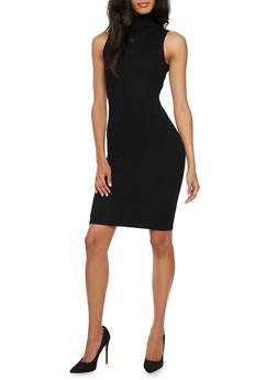 Rib Knit Bodycon Dress with Turtleneck - BLACK - 3410068191197