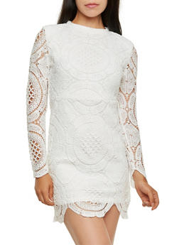 Crochet Bodycon Dress with Mock Neck - 3410068196065
