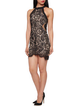 Lace Dress with Mesh Trim - 3410068196074