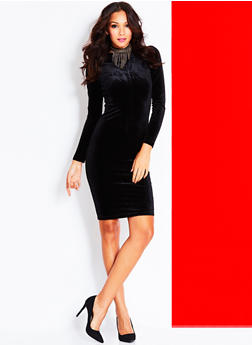Velvet Bodycon Midi Dress with Zip Back - BLACK - 3410068196125