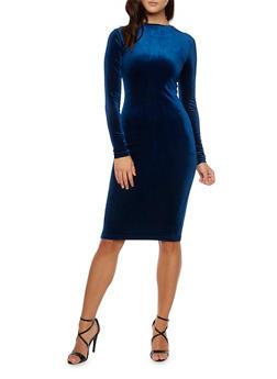 Velvet Bodycon Midi Dress with Zip Back - 3410068196125