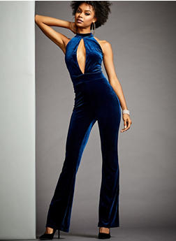 Sleeveless Velvet Jumpsuit with Cutout - 3410068196132