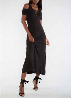 Cold Shoulder Maxi Dress - 3410068196614
