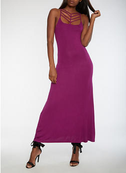 Caged Neck Maxi Dress - 3410068196615