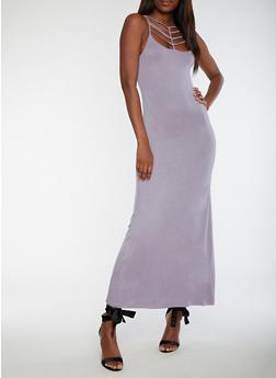 Caged Neck Maxi Dress - 3410068196615