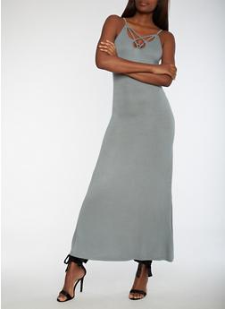 Caged V Neck Maxi Dress - 3410068196618