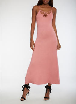 Caged V Neck Maxi Dress - ROSE - 3410068196618