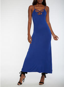 Caged V Neck Maxi Dress - 3410068196618