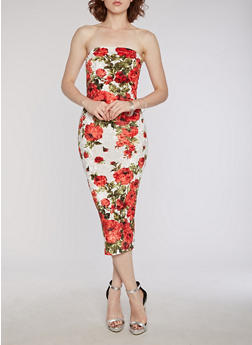 Crushed Velvet Floral Tube Dress - RED - 3410068510043