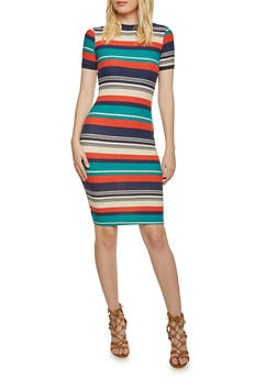 Striped Bodycon Dress with Short Sleeves - 3410068510225