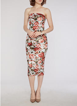 Mid Length Floral Crushed Velvet Tube Dress - 3410068510233