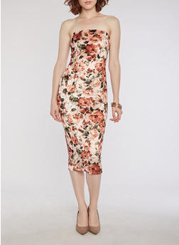 Mid Length Floral Crushed Velvet Tube Dress - CORAL - 3410068510233