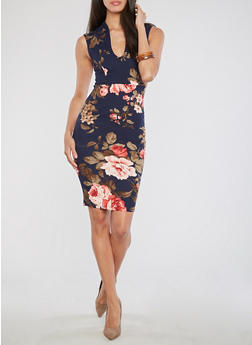 Floral Crepe Knit Dress - 3410068511140