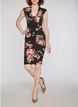Floral Crepe Knit Plunging V Neck Bodycon Dress - 3410068511238
