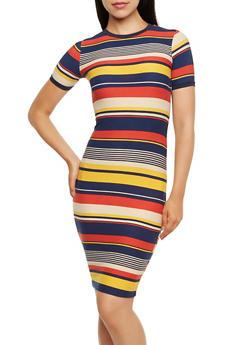Striped Bodycon Dress - 3410068511250