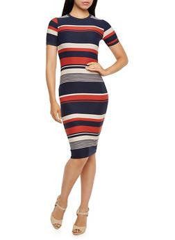 Striped T-Shirt Dress - 3410068511251