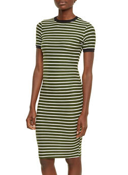 Striped T-Shirt Dress with Ringer Trim - 3410068511265