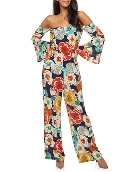 Floral Off the Shoulder Jumpsuit - 3410068512221