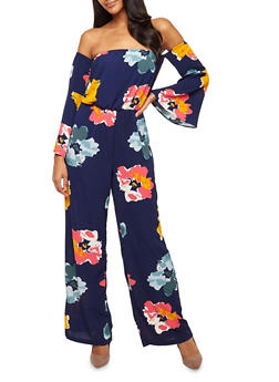 Floral Crepe Knit Off the Shoulder Jumpsuit - 3410068513409