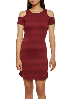 Cold Shoulder Textured Knit Midi Dress - 3410068513422