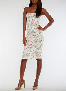 Floral Mid Length Tube Dress - 3410068514133