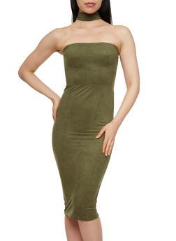 Brushed Faux Suede Midi Choker Dress - 3410068514208