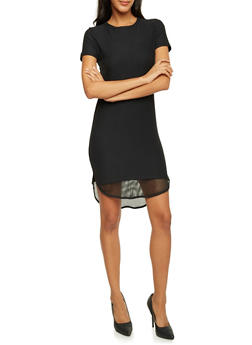 Bodycon Dress with Mesh Trim - BLACK - 3410068514217